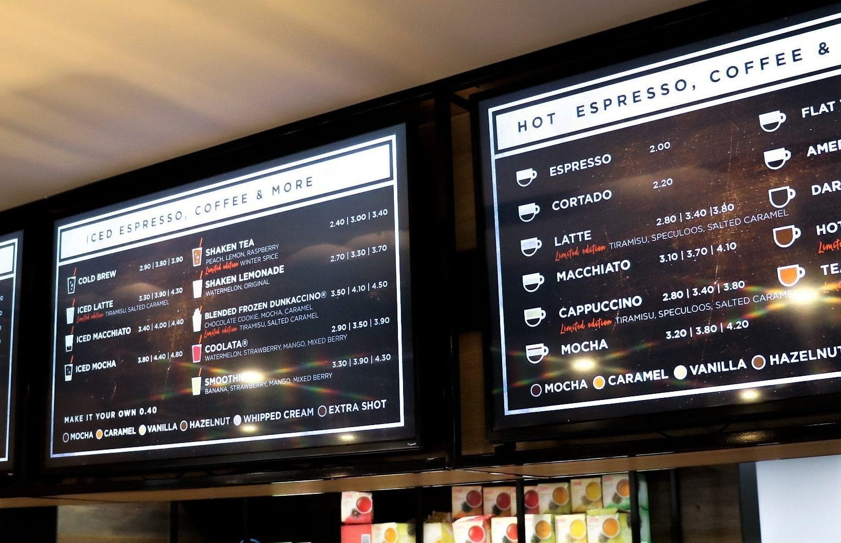 instore promotie menu led bord